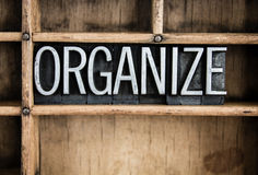 Organize Concept Metal Letterpress Word in Drawer Stock Photos