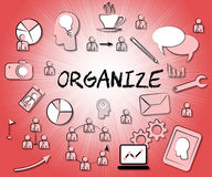 Organize Icons Shows Sign Arranged And Organizing. Organize Icons Indicating Structure Manage And Managed Stock Photography
