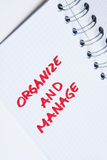 Organize and manage - notebook note. Organize and manage - note in notebook. Personal message in notebook stock images