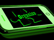 Organize On Smartphone Shows Contacts Organizing. And Structure Stock Image