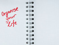 Organize your life - notebook note royalty free stock photo