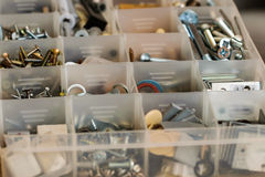Organized bolts, screws, nuts and washers. Royalty Free Stock Images