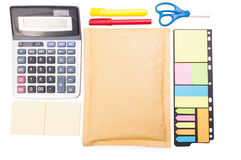 Organized business desk from upper view Royalty Free Stock Image