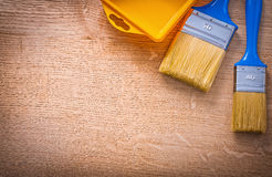 Organized copyspace aerial view two paintbrushes Royalty Free Stock Images
