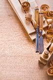 Organized copyspace carpentry chisels planks Royalty Free Stock Photo