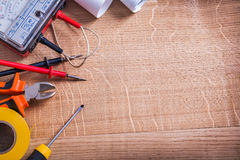 Organized copyspace electrical tools multimeter Royalty Free Stock Photo
