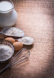 Organized copyspace flour in spoon bowl and scoop Royalty Free Stock Images