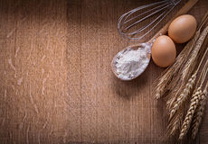 Organized copyspace flouur in spoon eggs ears of Royalty Free Stock Photography