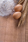 Organized copyspace heaf of four eggs corolla Stock Images