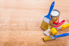 Organized copyspace set of paint brushes roller Royalty Free Stock Image
