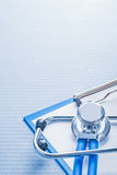 Organized copyspace very close up view stethoscope Royalty Free Stock Photos