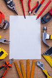 Organized copyspace white blank sheet of paper and Royalty Free Stock Photo