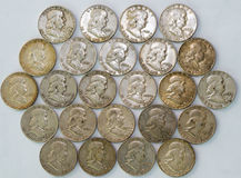 Organized Franklin Half Dollar Coins stock photo
