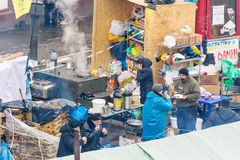 Organized free meals for the protesters in the center of Kiev Royalty Free Stock Photo