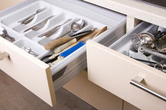 Organized Kitchen Drawer Stock Images