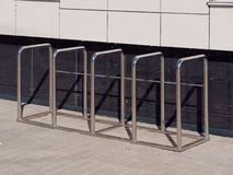 Organized place to park bicycles. art object royalty free stock image