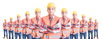 Organized team of builders or construction workers Stock Images