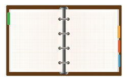Organizer. Realistic vector illustration of an open leather organizer with labels Stock Image