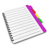 Organizer. 3d illustration of organizer notepad or address book over white background Royalty Free Stock Photography