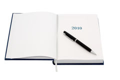 Organizer for 2010. With black pen. Royalty Free Stock Photo