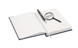 Organizer for 2010. With black pen and magnifier. Isolated object Royalty Free Stock Photos