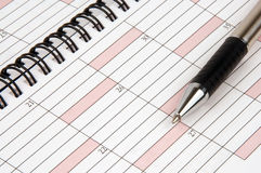 Organizer. Weekly planner with pen on the top Royalty Free Stock Photo
