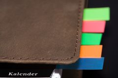 Organizer. With some coloured notes Stock Photos