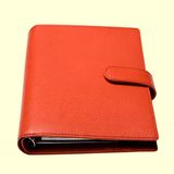 Organizer. Brown case, leather notebook, isolated Stock Photos