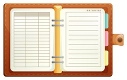 Organizer with brown leather covers. Illustration Stock Image