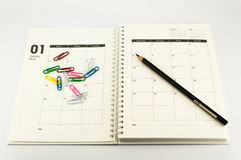 2014 Organizer with clips and pencil Royalty Free Stock Image