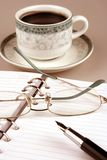Organizer and coffee Stock Photo