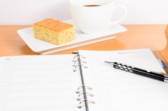 Organizer with coffee and  cake ,coffee break Stock Image
