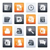 Organizer, communication and connection icons over color background. Vector icon set stock illustration