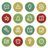 Organizer contour icons on color buttons. Royalty Free Stock Images