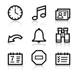 Organizer contour web icons. Vector web icons, black contour series Royalty Free Stock Photo
