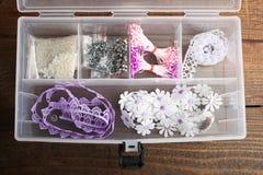 Organizer with decorative elements. Organizer with different decorative elements for manual work stock photography