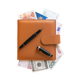 Organizer filled with money Royalty Free Stock Photo