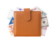 Organizer filled with money Stock Image
