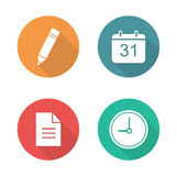 Organizer flat design icons set. Time management white silhouette long shadow symbols. Day planning business application. Work organiser interface color Stock Image