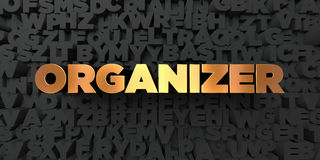 Organizer - Gold text on black background - 3D rendered royalty free stock picture Royalty Free Stock Photo