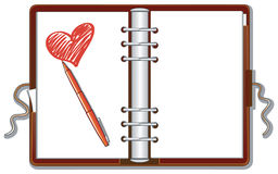 Organizer and hearth. This illustration is an organizer open. On a blank page is drawn a heart and there is supported a red crayon Stock Photography