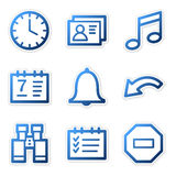 Organizer icons, blue series Stock Photo