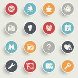 Organizer icons with color buttons on gray background. Stock Photos