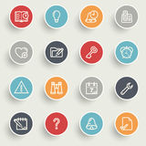 Organizer icons with color buttons on gray background. Stock Images