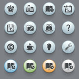 Organizer icons on gray background. Stock Photos