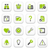 Organizer icons. Green gray series. Stock Photo