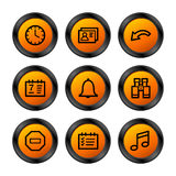 Organizer icons, orange series. Vector web icons, orange circle series, V2 Stock Image