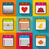 Organizer icons set, flat style. Organizer icons set. flat set of 9 organizer vector icons for web isolated on white background Stock Photos