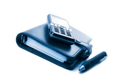 Organizer and mobile phone isolated Royalty Free Stock Images
