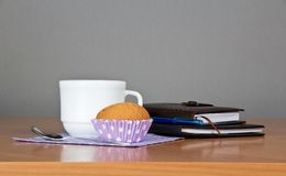 Organizer, notepad cup of coffee and cake Stock Images